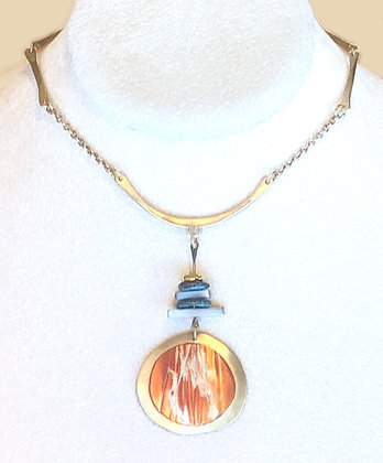 Copper, Brass, & Turquoise Pendant  Necklace