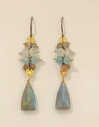 Labradorite, Moonstone & Chalcedony Earrings