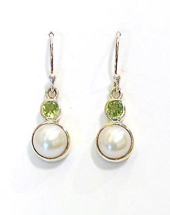 Freshwater Pearl & Peridot Earrings