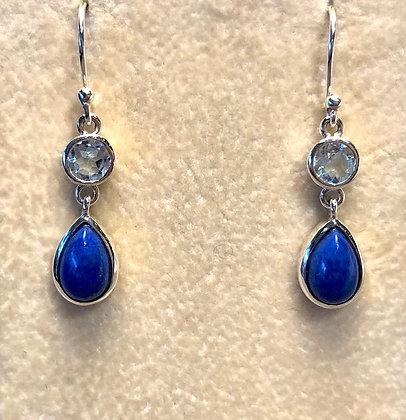 Blue Topaz & Lapis Earrings