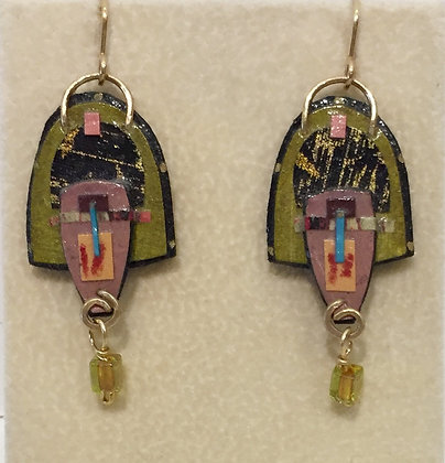 Collage Earrings with Gold and Bead Accents