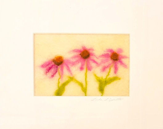 Cone Flowers Felted Art