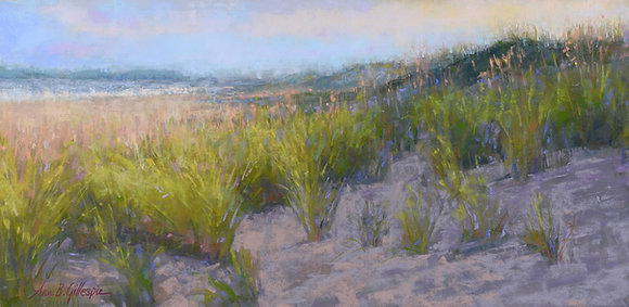 Pastel painting of a beach