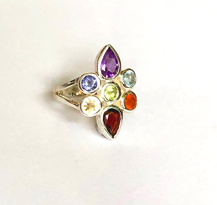 Multi-Stone Sterling Silver Ring