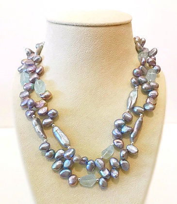 Pearl & Blue Topaz Necklace