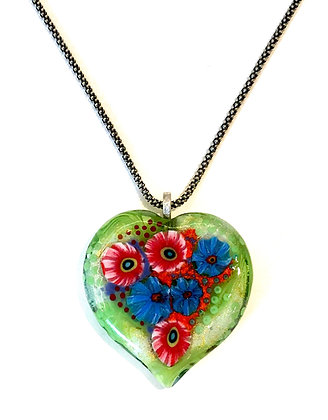 Green Floral Heart Pendant Necklace