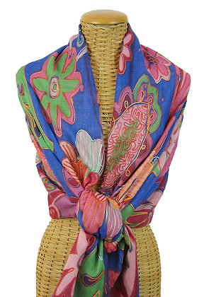 Sheer Wool Embroidered Scarf