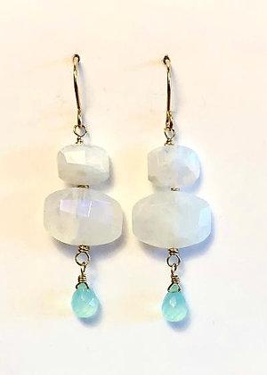 Moonstone & Chalcedony Drop Earrings