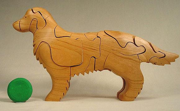 Handcrafted Wooden Golden Retriever Puzzle