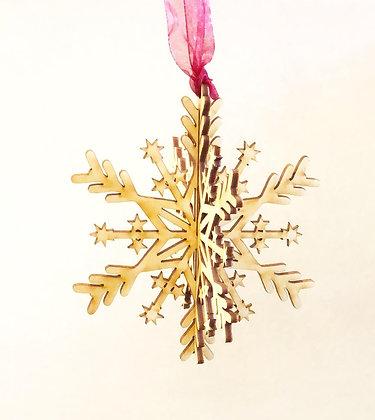 Wooden 3D Snowflake Ornament