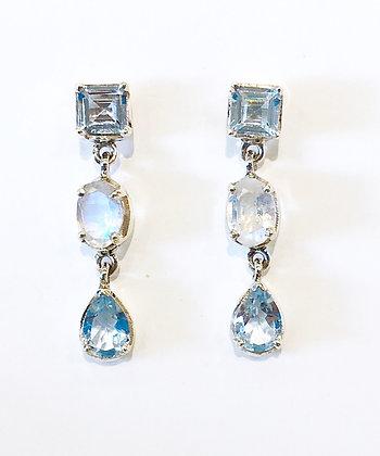 Blue Topaz & Moonstone Triple Drop Earrings