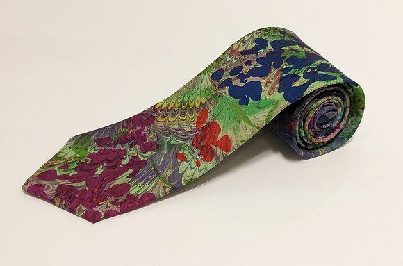 Hand-Marbled Silk Tie