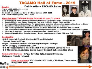 2019 TACAMO Hall of Fame Inductee - Deb Martin