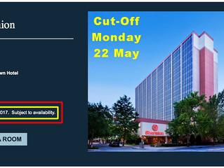 """HOTEL Reservation Cut-off  """"Monday, May 22nd"""" for 2017 Reunion"""