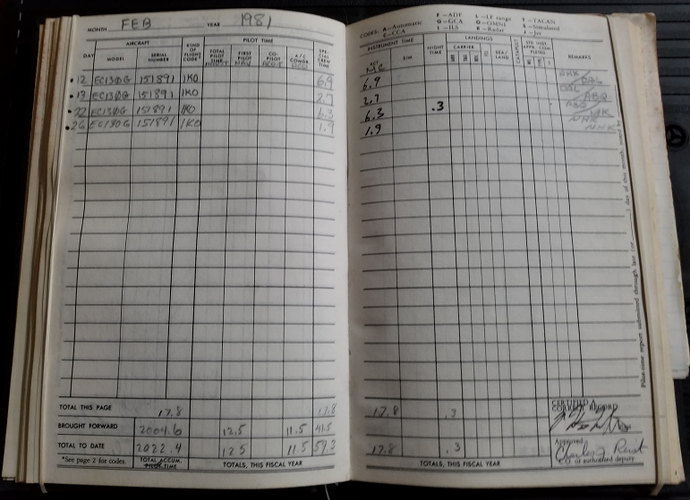 Bill McAllister 891 Log book