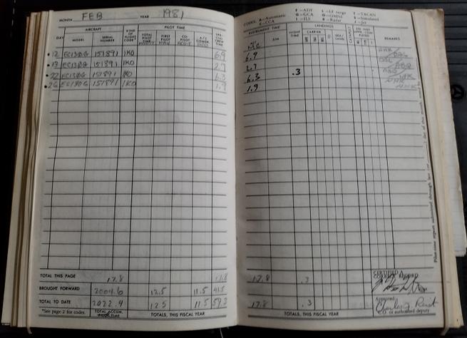 Bill McAllister 891 Log book