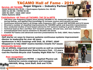 2019 TACAMO Hall of Fame Inductee - Roger Kilgore