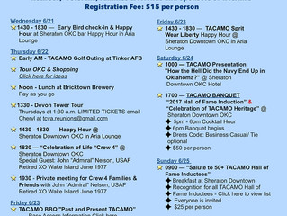 2017 TACAMO Reunion Schedule for Retirees,  Veterans, Families & Friends and Sponsors of TACAMO