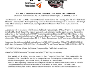 TACAMO Community Veterans Association Event Honors TACAMO Fallen June 8th @1300 HST