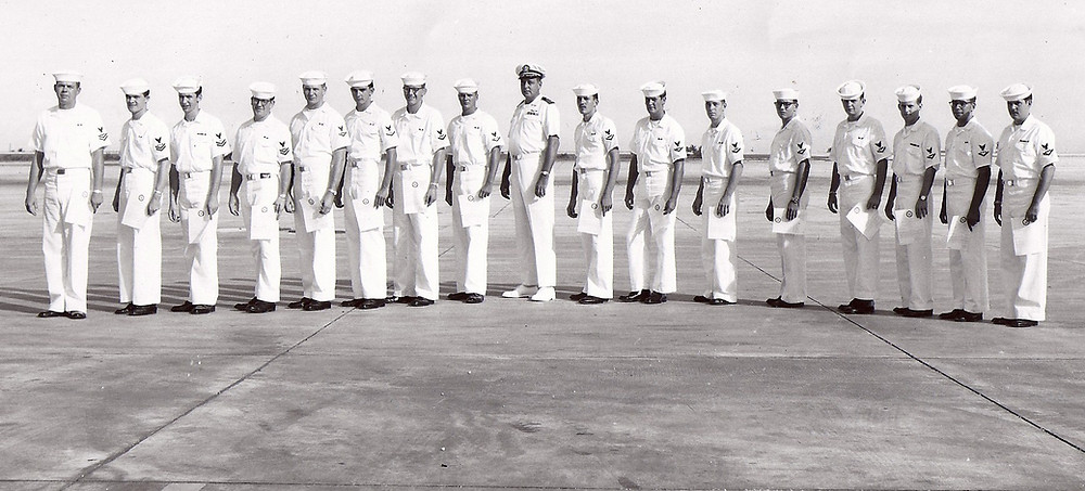 Commander Ed Preston with those of us in VQ-3 who made 2nd and 3rd class on Guam in 1968.