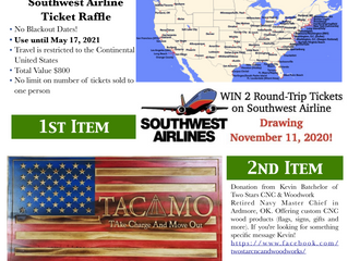 November 11, 2020 Raffle - 2 Raffle Items Support TACAMO Heritage Center Displays