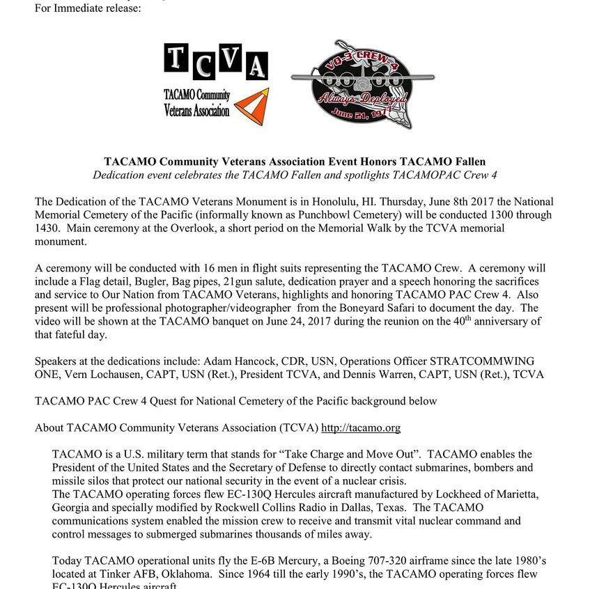 Press Release TACAMO Community Veterans Assoc Honors TACAMO Fallen final Pg1