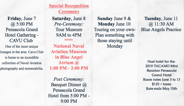 Come join us for a fun celebrations to our planes and adventures by all of TACAMO.