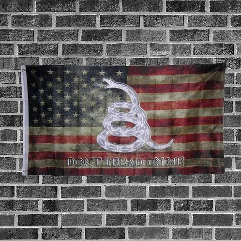 Gadsden Tea Stained Flag 3ft x 5ft Flag