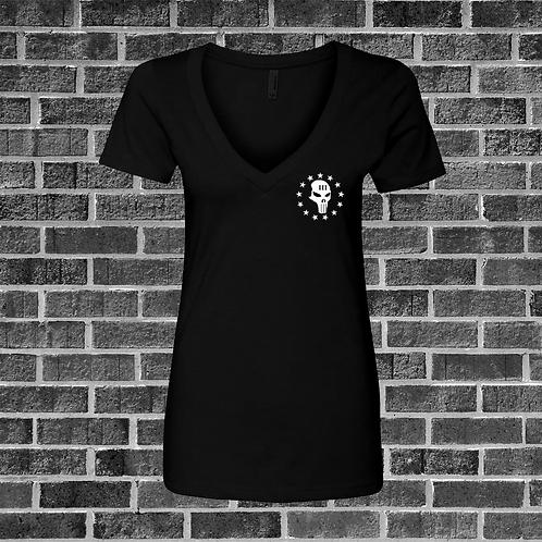Womens Deep V-Neck w/ Skull Logo
