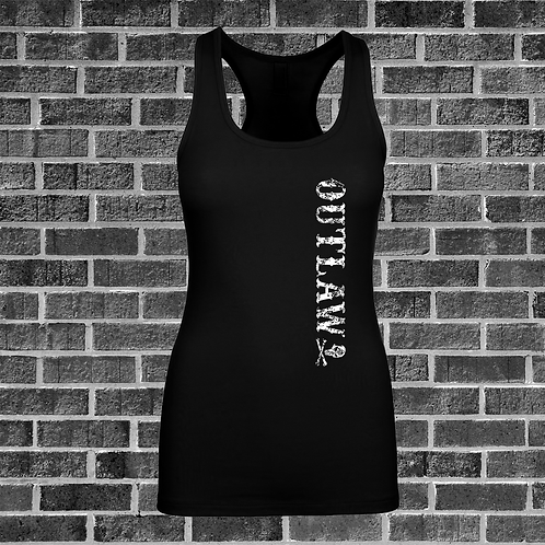 Womens Black Outlaw Racer Back Tank Top