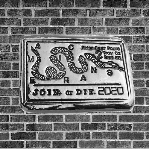 2 Ounce Join Or Die Silver Ba