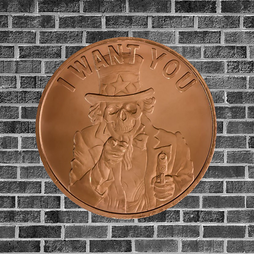 Uncle Sam Skull 1 Ounce Copper Coin