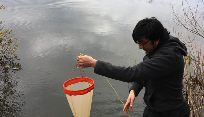 Daniel sampling some plankton