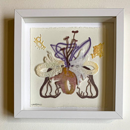 #0003 small frame with pate de verre work  size 23*23 cm  200 $   Available in Israel only  contact me for details