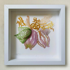 #0005 small frame with pate de verre work  size 23*23 cm  200 $   Available in Israel only  contact me for details