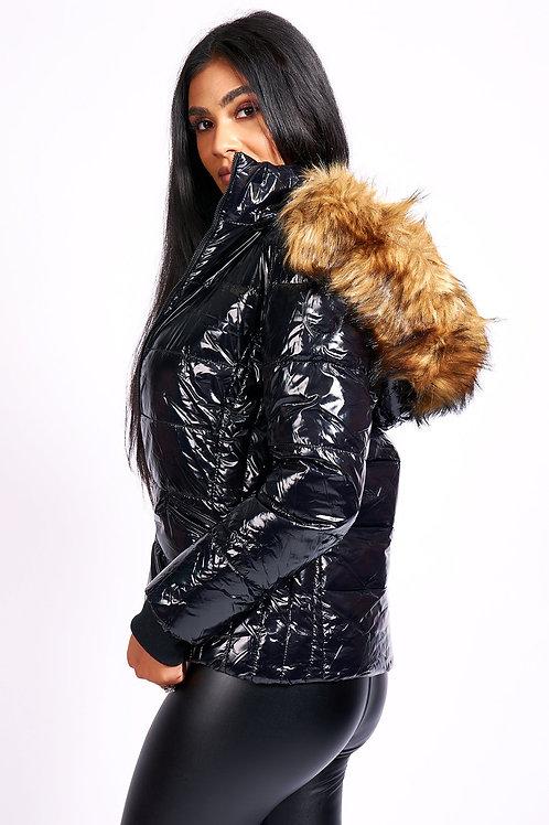 Shiny Faux Fur Hooded Puffa Jacket Black