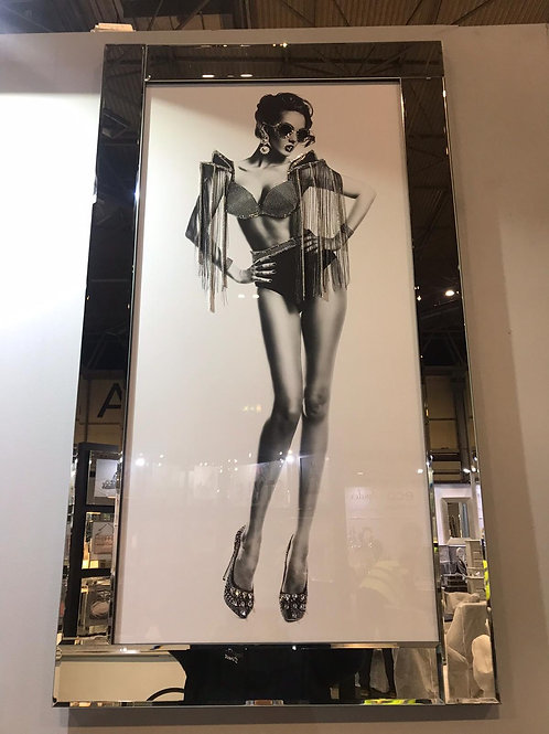 Rock Chick Lady Liquid Art with Mirrored Frame