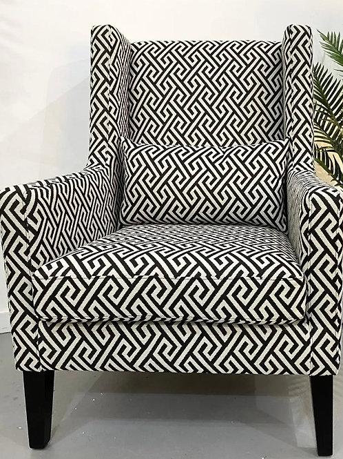 Geometric Print Black and White Chair