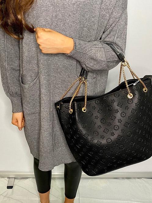 Black designer inspired chain bag