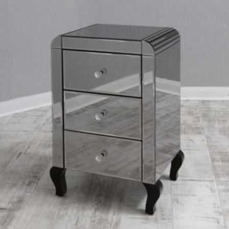 3 Drawer Smoke Mirrored Bedside with Detailed curved cornering