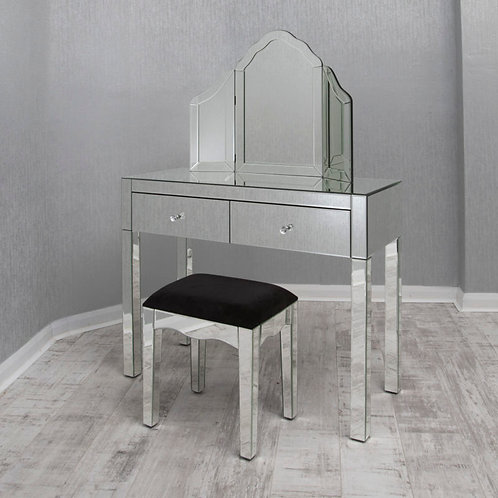 2 Drawer Mirror Dressing Table Set with Stool and Mirror
