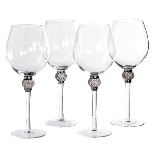 Set of 4 Silver Diamante Ball Wine Glasses