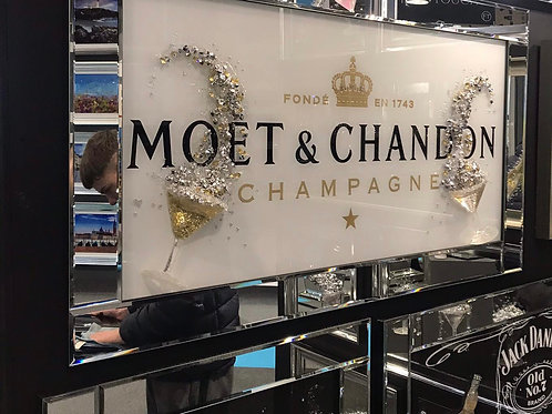 Moet & Company 3 D Liquid Art with Mirrored Frame