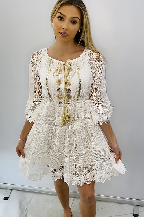 White Lace Smock Dress