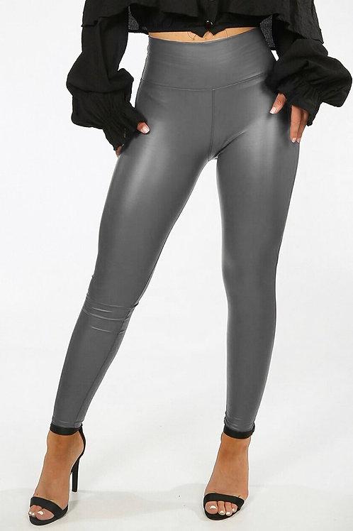 Grey Wet Look Leggings