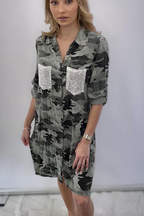 Khaki Sequin Pocket Camouflage print dress