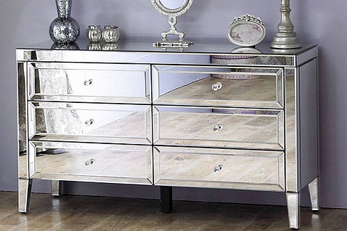 GLAMOROUS LARGE MARILYN MIRRORED 6 DRAWER CHEST