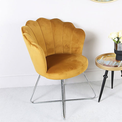 Mustard Shell Chair with Chrome Legs