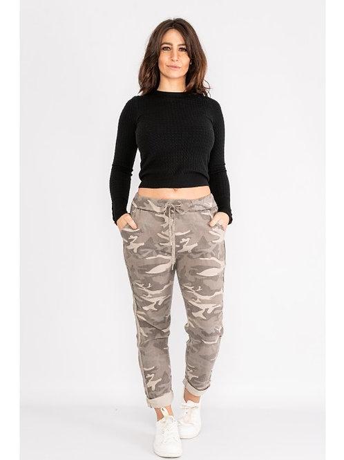 Beige Combat Print Magic Trouser