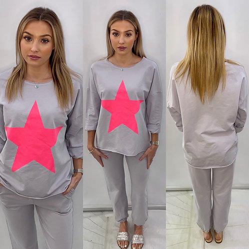 Grey Tracksuit with Cerise Star
